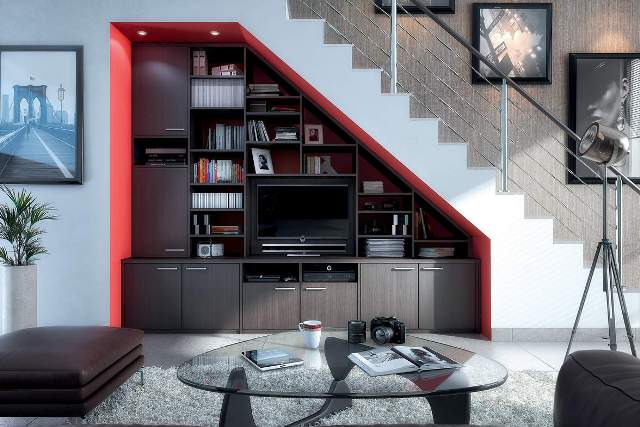 Bd, à la fois meuble de rangement, bibliothèque, tvhifi