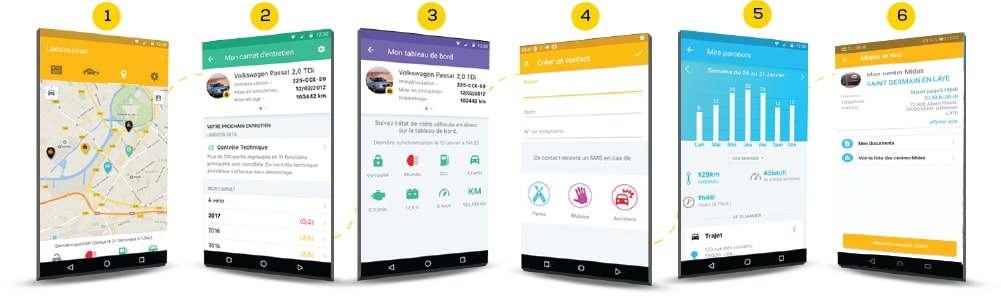 Fonctionnalités de l'application Midas Connect