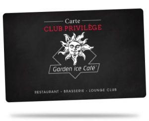 carte Club Privilège franchise Garden Ice Café