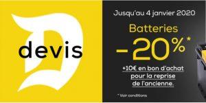 - 20 % sur les batteries + 10 € de bon d'achat chez Midas