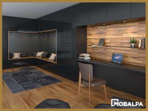 bureau intégré dans le prolongement du salon - Mobalpa