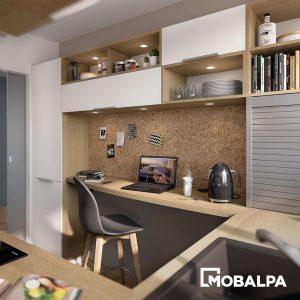 bureau intégré dans une petite cuisine - Mobalpa