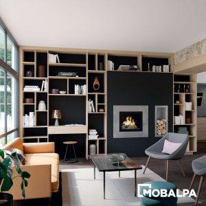 bureau en totale harmonie avec la bibliothèque sur-mesure qui l'entoure - Mobalpa
